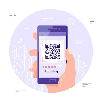 Banner di concetto di scansione del codice qr. mano maschio che tiene il telefono cellulare con codice qr sullo schermo.