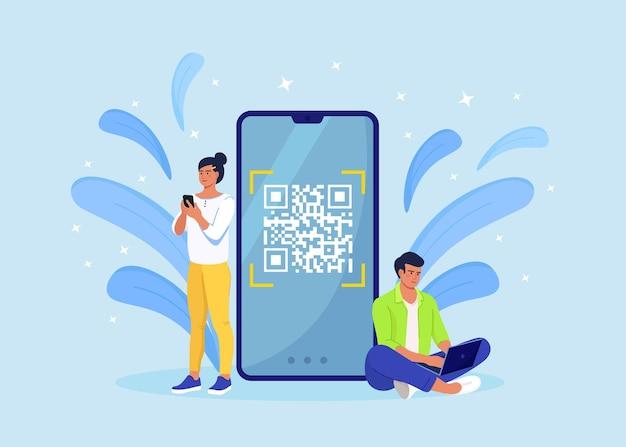 Concetto di scansione del codice qr. i personaggi usano il telefono cellulare, scansionano il codice a barre per il pagamento online.