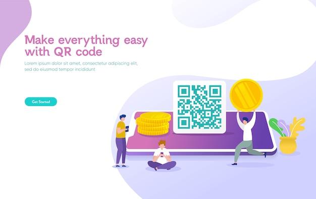 Il concetto dell'illustrazione di vettore di scansione di codice di qr, la gente usa lo smartphone e scansiona il codice del qr per il pagamento e tutto
