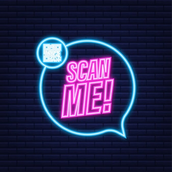 Codice qr per smartphone. l'iscrizione mi scansiona con l'icona dello smartphone. icona al neon. codice qr per il pagamento. illustrazione vettoriale.