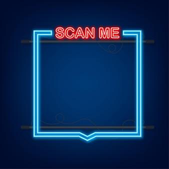 Codice qr per smartphone. l'iscrizione mi scansiona con l'icona dello smartphone. codice qr per il pagamento. icona al neon. illustrazione vettoriale.