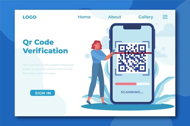 Modello di pagina di destinazione per la verifica del codice qr