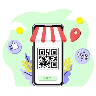 Qr scan shopping online acquista design piatto illustrazione