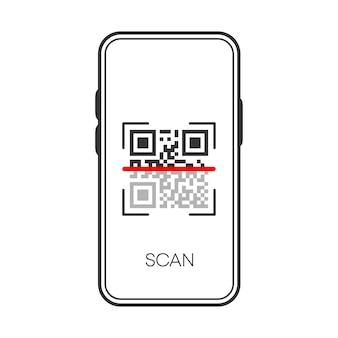 Verifica qr scan sull'icona nera del telefono isolata su priorità bassa bianca. Vettore Premium