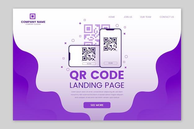 Modello di pagina web con codice di verifica qr