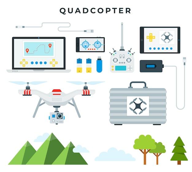 Quadcopter e tutti gli accessori isolati su bianco