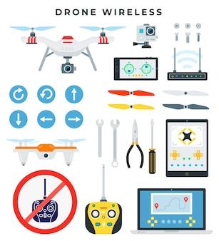 Quadricottero e tutti gli accessori e gli strumenti necessari per il montaggio e la riparazione
