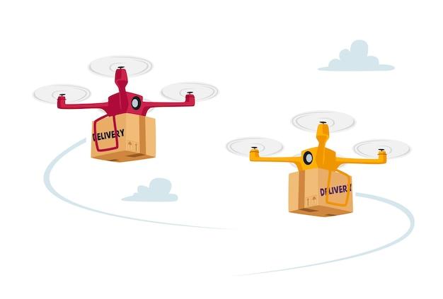 Trasporto di merci a distanza con quadricottero, trasporto aereo aziendale. concetto di spedizione delle merci