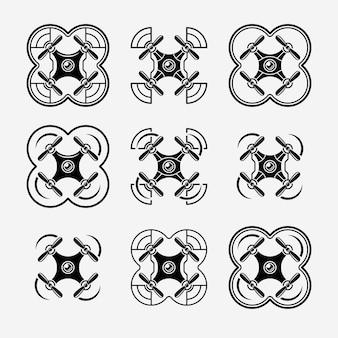 Quadrocopters set di icone nere su sfondo grigio, raccolta di simboli di drone