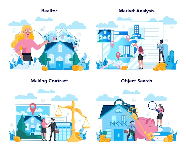 Insieme di concetto di agente immobiliare o agente immobiliare qualificato