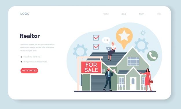 Agente immobiliare qualificato o banner web o pagina di destinazione dell'agente immobiliare