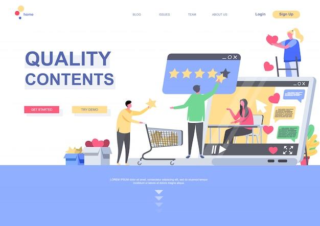 Modello di pagina di destinazione piatta per contenuti di qualità. persone che danno una stima di qualità dei media o della situazione post. pagina web con personaggi di persone. illustrazione di marketing e pubblicazione di social media.