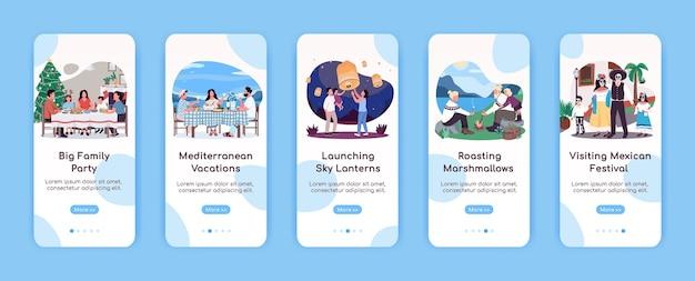 Modello piatto di schermo per app mobile di qualità per la famiglia. attività ricreativa. procedura dettagliata del sito web con i personaggi. ux, interfaccia utente, interfaccia grafica per smartphone, set di stampe per casi