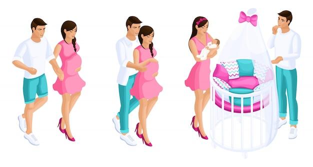 Isometrici di qualità, un romantico set di coppie durante la gravidanza, la nascita di un bambino, una bellissima culla con i genitori