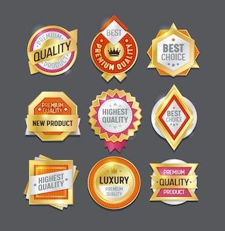 Distintivo di etichetta di qualità migliore set. badge premium