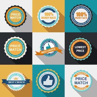 Segno di marchio di qualità impostato in design piatto moderno con una lunga ombra