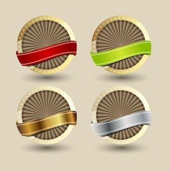Etichette di qualità in design vintage retrò. illustrazione vettoriale. env 10.