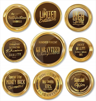 Raccolta di etichette vintage retrò di qualità