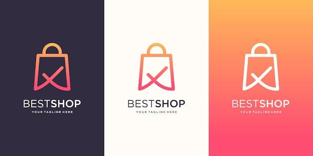 Modello di design del logo del negozio di qualità, borsa combinata con un segno di spunta.