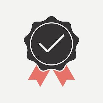 Qualità verificata. icona confermata con un segno di spunta. approvato, testato, approvato. illustrazione vettoriale.