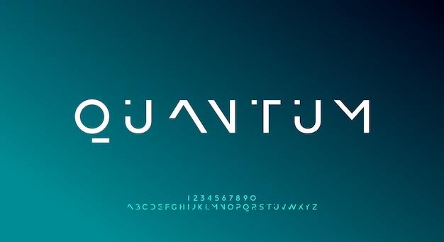 Quantum, un carattere futuristico astratto di alfabeto di fantascienza con tema tecnologico. moderno design tipografico minimalista