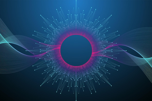 Concetto di tecnologia informatica quantistica. priorità bassa di esplosione della sfera. intelligenza artificiale di apprendimento profondo. visualizzazione di algoritmi di big data. le onde scorrono. esplosione quantistica, illustrazione vettoriale.