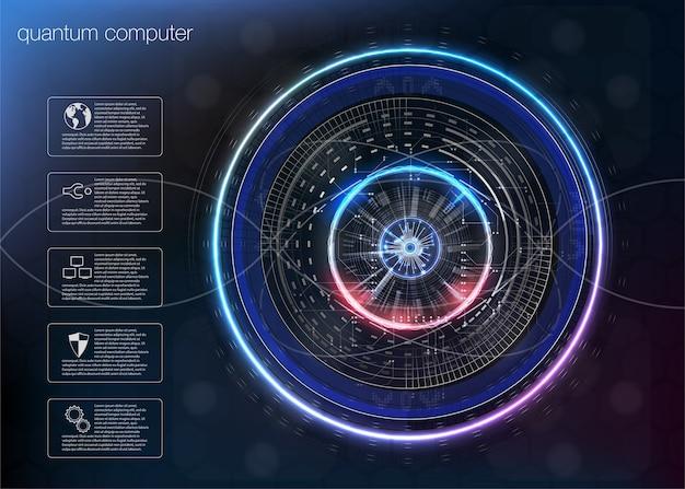 Quantum computing, algoritmi per big data, quantum computing, tecnologie di visualizzazione dei dati, intelligenza artificiale di deep learning, infografica sulla crittografia dei segnali.