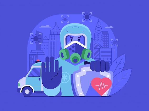 Metti in quarantena il concetto di pandemia di coronavirus della città con epidemiologo in costume da rischio biologico.