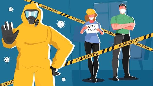 Illustrazione di quarantena con personaggi umani in maschere e tuta chimica