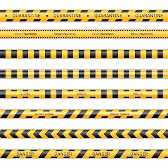 Linee di quarantena e nastri del caronavirus. nastri virus in colore giallo e nero. raccolta di segnali di pericolo isolata su priorità bassa bianca. illustrazione vettoriale.