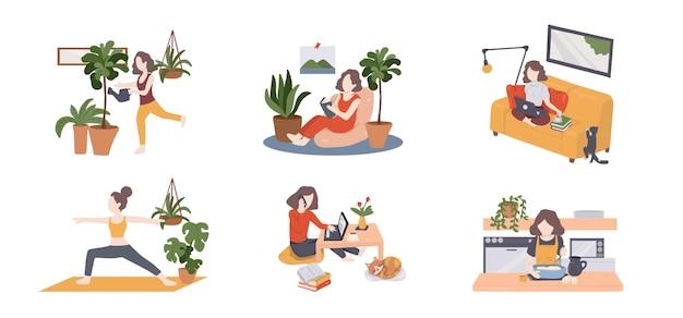 Quarantena, stare a casa concetto persone sedute a casa o in appartamento