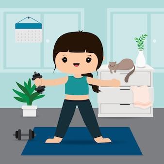 Quarantena, resta a casa concetto. lavorando da casa, donna che fa esercizio e yoga allenamento a casa palestra. personaggio dei cartoni animati illustrazione