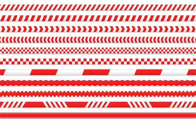 Nastro in quarantena. nastro rosso per separare le aree di ingresso.isolare su sfondo bianco.