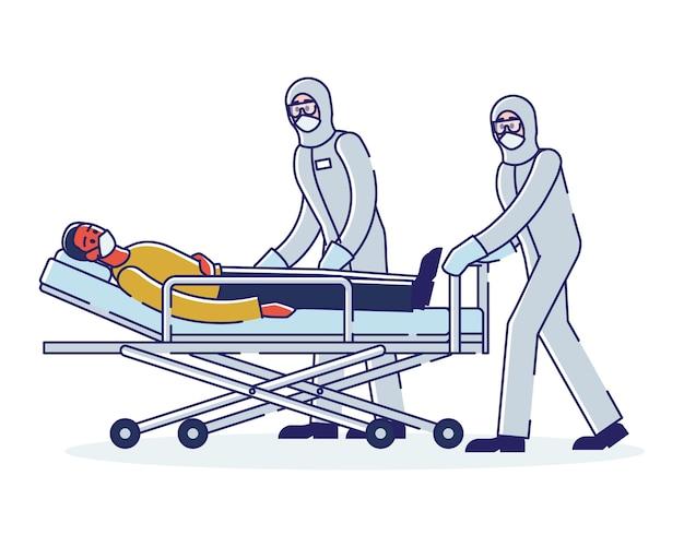Messa in quarantena di pazienti infetti e medici in tute protettive