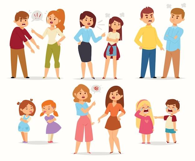 Lo stress da conflitto di litigio unisce persone caratteriali con persone che litigano che urlano