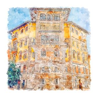 Quartiere coppede italia illustrazione disegnata a mano di schizzo ad acquerello