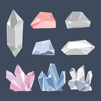 Insieme del fumetto di vettore di quarzo, cristallo, brillante e diamante isolato su priorità bassa.