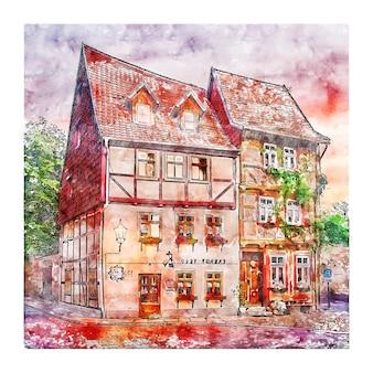 Illustrazione disegnata a mano di schizzo dell'acquerello della germania di quedlinburg