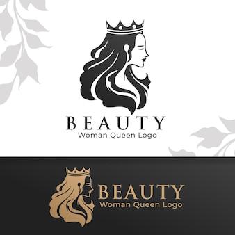 Modello di logo della donna di bellezza della regina modificabile