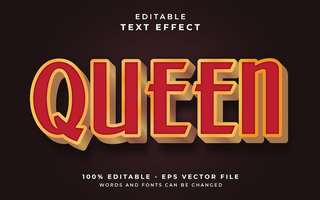 Effetto di testo modificabile regina Vettore Premium