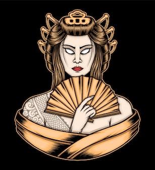 Regina dell'illustrazione della geisha. vettore premium