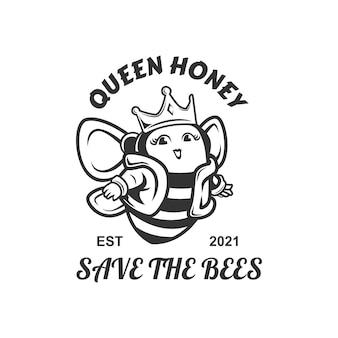 La mascotte del logo del miele della regina salva la regina