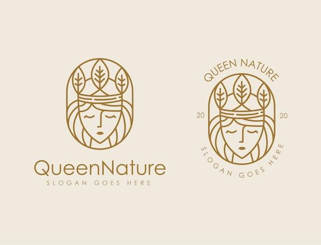 Modello di logo di natura foglia regina