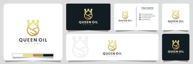 Queen oil, leaf drops, logo design inspiration