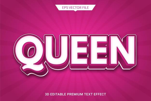 Regina rosa 3d effetto stile di testo modificabile vettore premium