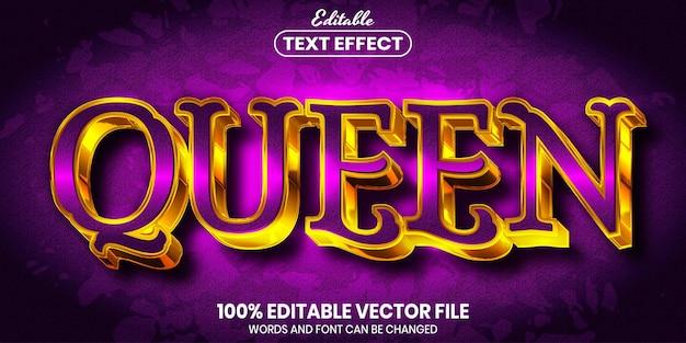 Testo della regina, effetto di testo modificabile in stile carattere