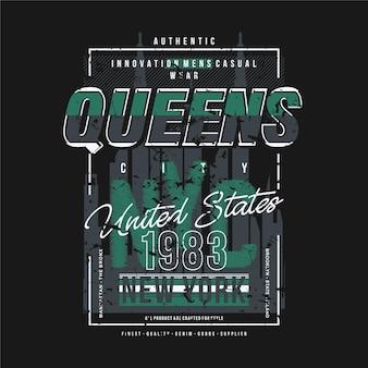 Illustrazione di tipografia di progettazione della maglietta di stile di modo della cornice di testo delle regine di new york city