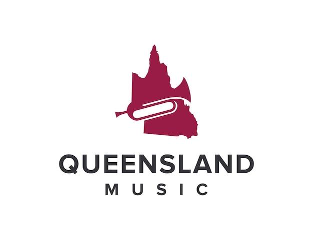 Mappa dello stato del queensland e musica del corno semplice elegante design geometrico moderno e creativo del logo