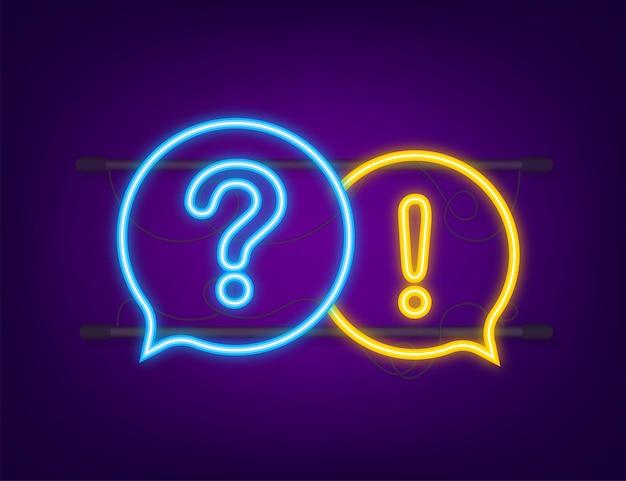 Banner di domanda e risposta. icona al neon. bandiera del megafono. web design. illustrazione di riserva di vettore.