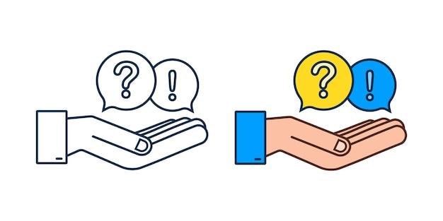 Domanda e risposta bubble chat appesa sopra le mani su sfondo bianco. illustrazione di riserva di vettore.